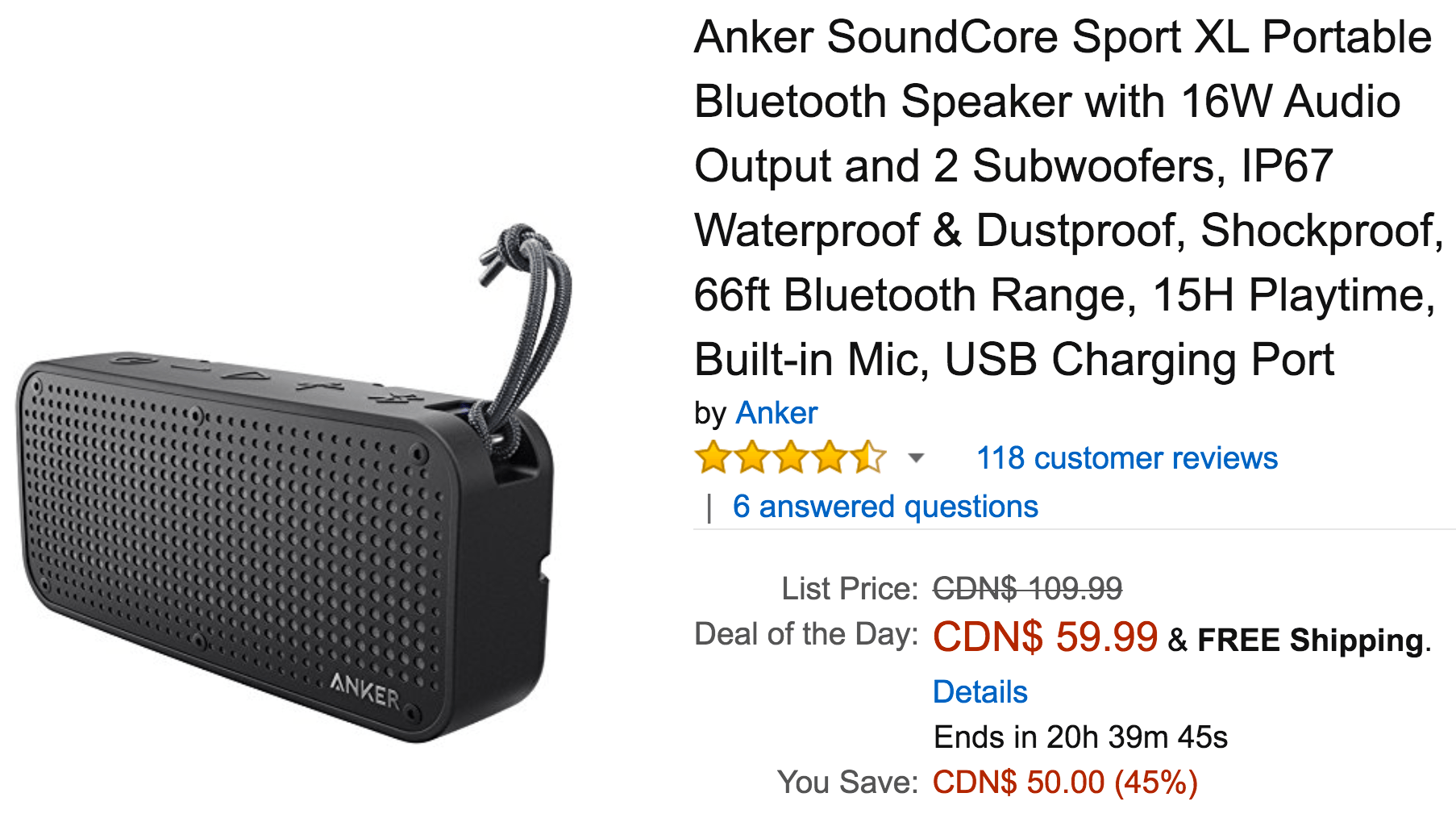 Amazon Canada Deals Of The Day: Save 45% on Anker SoundCore