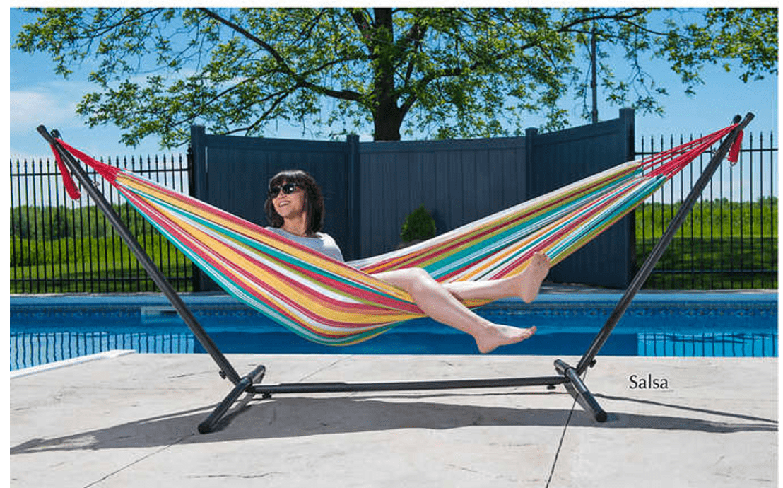 costco canada has a great deal on this double hammock with stand  now you can save  40 off and get it for only  99 with free shipping  costco canada deal  save  40 off double hammock with stand with      rh   smartcanucks ca