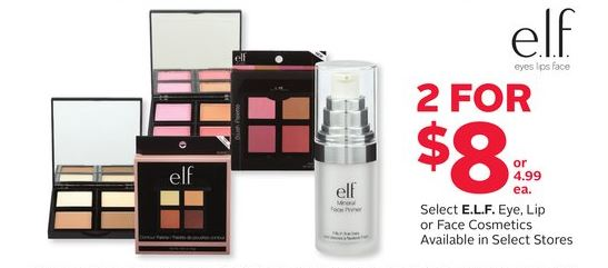 elf cosmetics at rexall 2 for 8 dollars