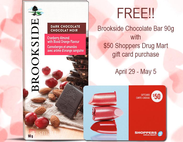 free Brookside chocolate bar with $50 SDM gift card