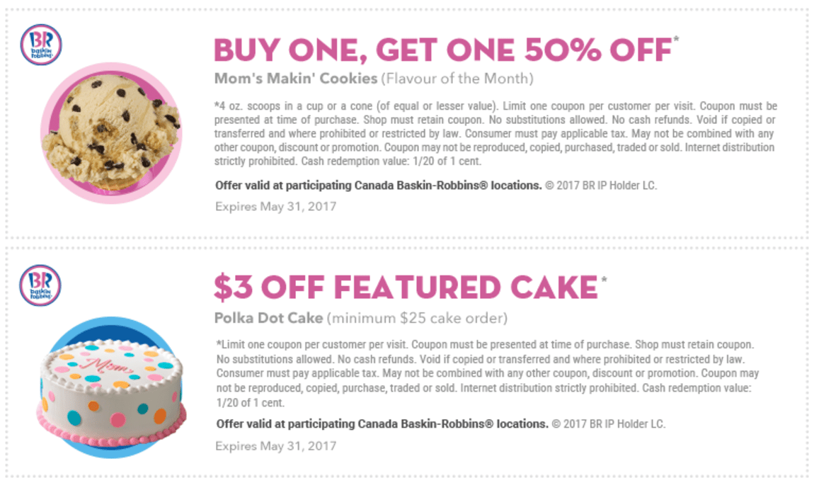 Baskin Robbins Canada May Coupons 3 Off Featured Cake Reese