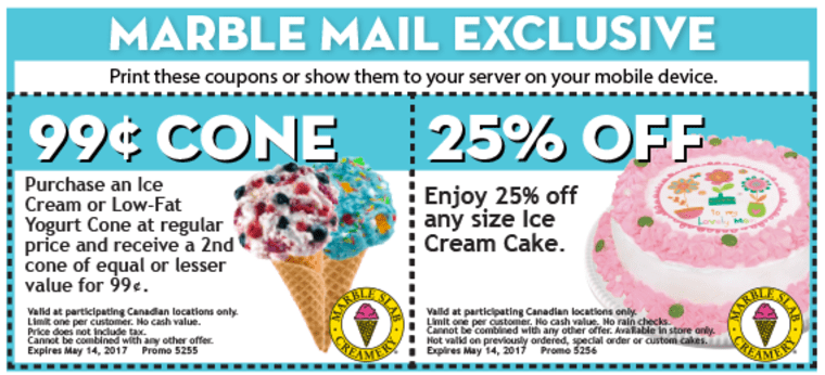Marble slab coupons