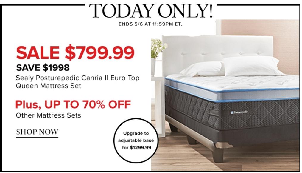 Luxury Hudson us Bay Canada Online Flash Sale Save on Sealy Posturepedic Canria II Euro Top Queen Mattress Set u More