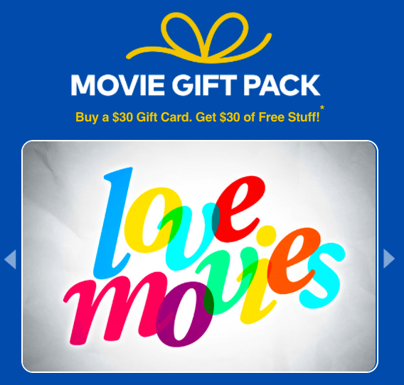 cineplex canada movie gift pack buy a 30 gift card get. Black Bedroom Furniture Sets. Home Design Ideas