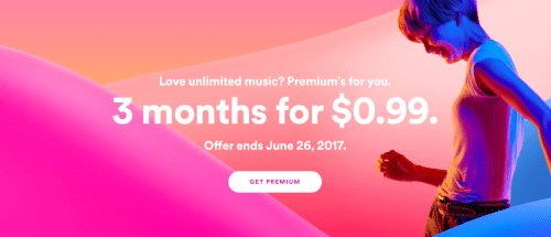 Spotify Canada Deals: Get Spotify Premium For 3 Months for Just $0.99