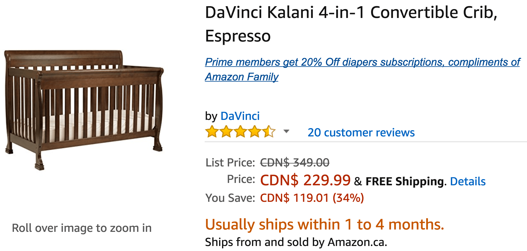 Amazon Canada Deals: Save 34% on DaVinci Kalani 4-in-1 Convertible Crib, 33% on Safavieh Amherst Collection Rug