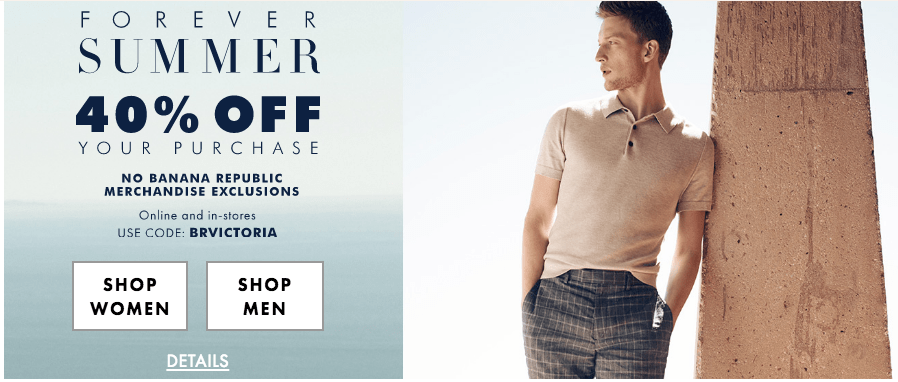 Banana Republic Canada Forever Summer Sale: Save 40% Off Your Purchase