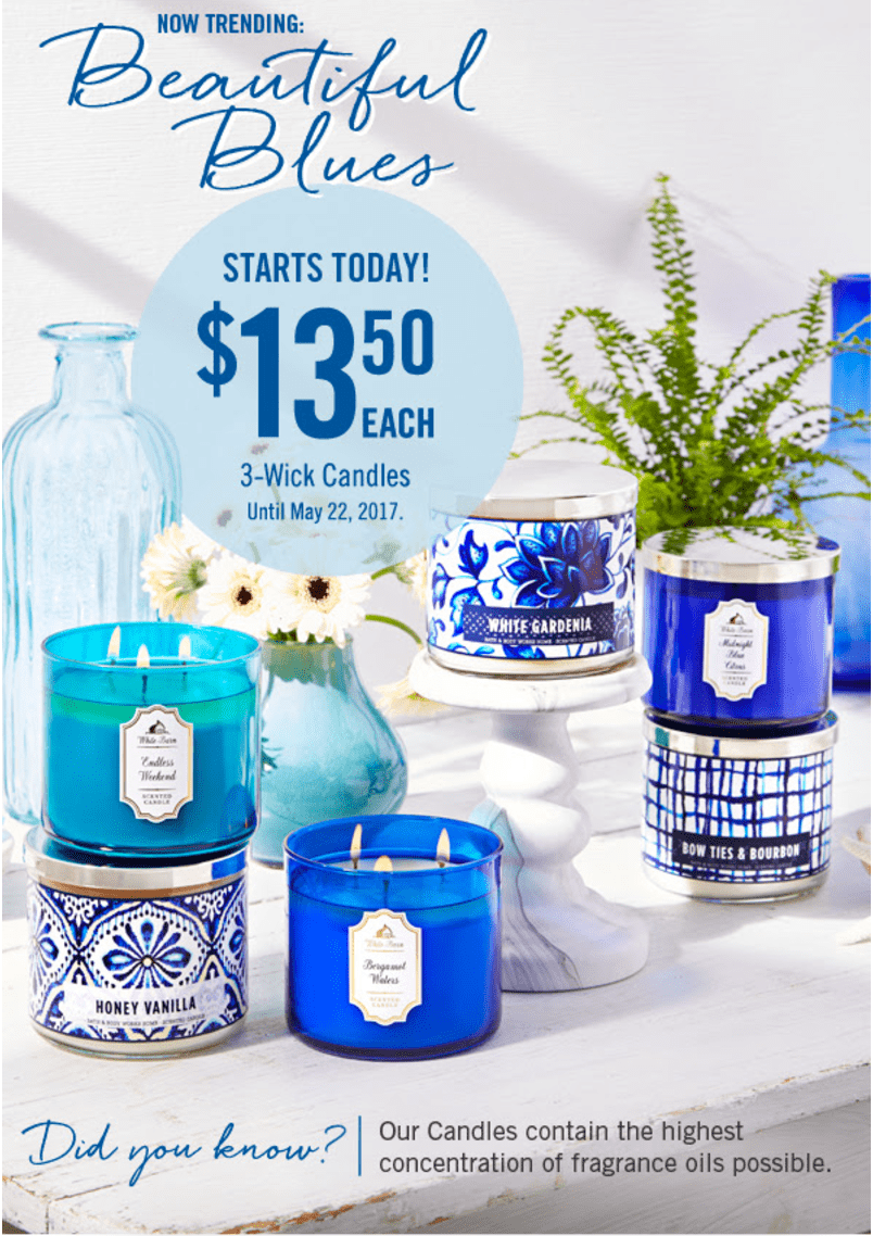 Bath & Body Works Canada Coupons & Deals: Save $10 Off any $30 Purchase, 3-Wick Candles, $13.50 each & More Deals