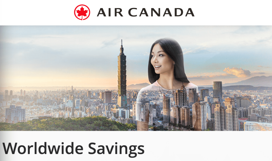 Air Canada Tickets/Flights Sale: Save $20 on Select flights Within North America or $50 on Select Flights to International Destinations