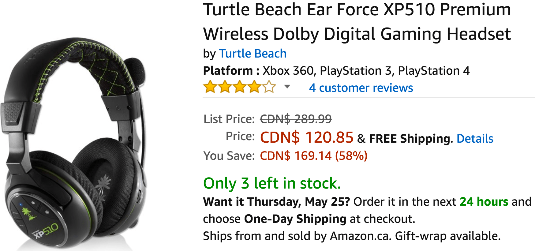 Amazon Canada Deals: Save 58% on Turtle Beach Ear Force