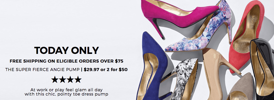 Sears Canada Deals: Today Only FREE Shipping on $75 + The Super Fierce Angie Pump for $29.97 + More!