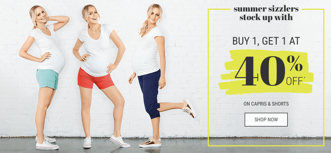 Thyme Maternity Canada Victoria Day Weekend Sale: BOGO 40% off ALL Shorts & Capris!