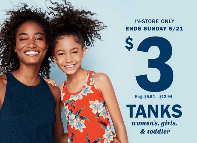 Old Navy Canada $3 Tank Sale In-Store Only Today & Tomorrow