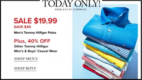 c2996cb2 Hudson's Bay Canada Flash Sale: $19.99 Men's Tommy Hilfiger Polos + 40% Off  Casual Wear + 60% Off Fine Jewellery + More