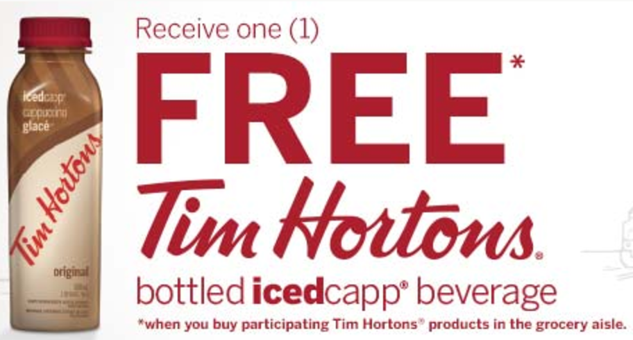 picture about Tim Hortons Coupons Printable known as Canadian Discount codes: Free of charge Tim Hortons Bottled Icedcapp Beverage