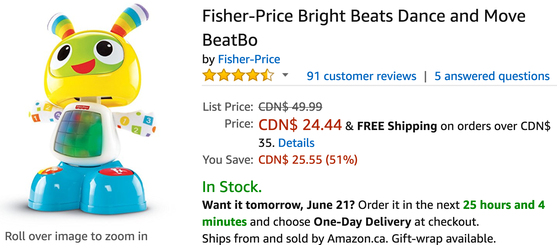 Amazon Canada Deals: Save 51% on Fisher-Price Bright Beats Dance and Move BeatBo & 20% on Microsoft Xbox LIVE 3 Month Gold Membership