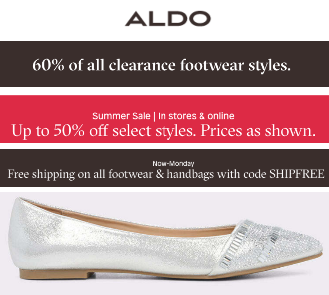 Follow this link to get Free Shipping to Store or on Orders Over $50 from Aldo. Limited time only!