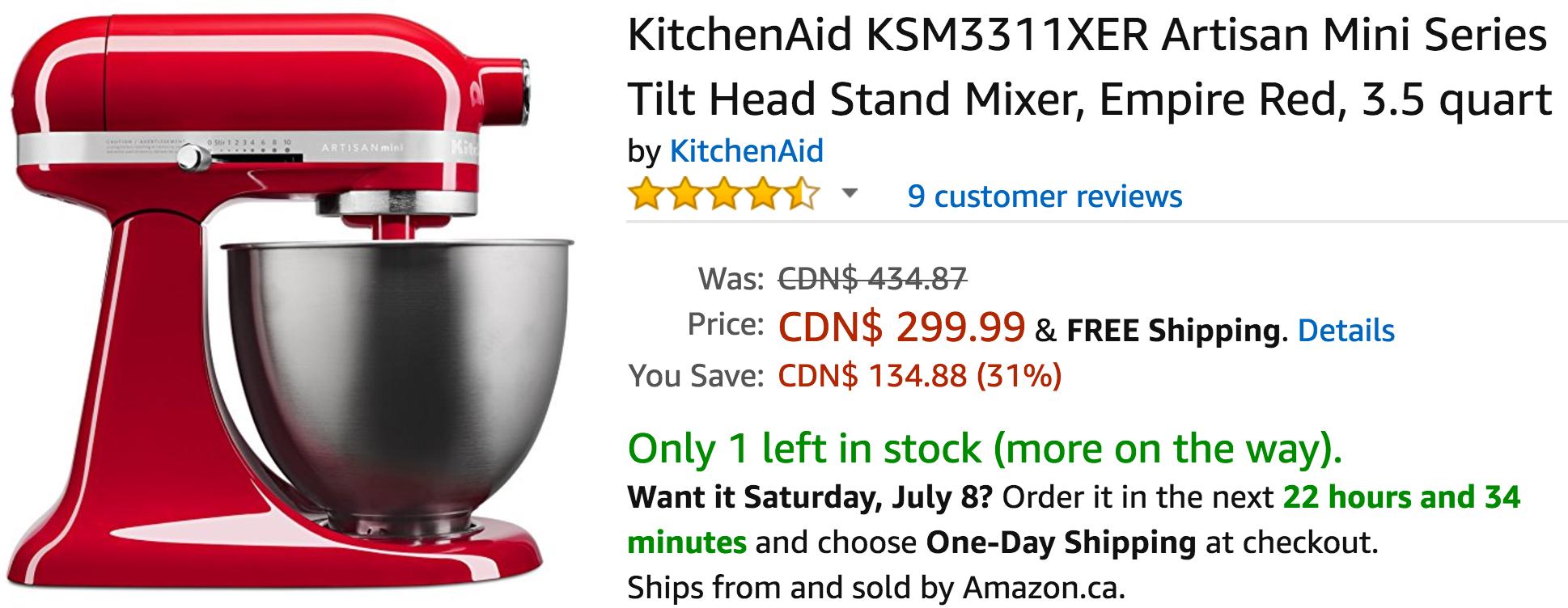 Amazon Canada Deals Save 31 On Kitchenaid Tilt Head