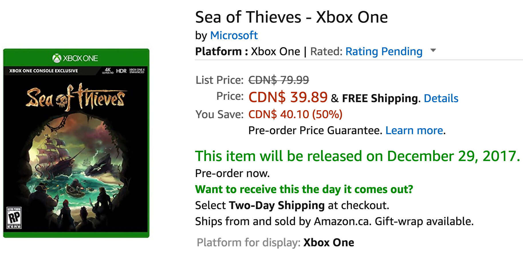 Amazon Canada Deals: Save 50% on Sea of Thieves – Xbox One