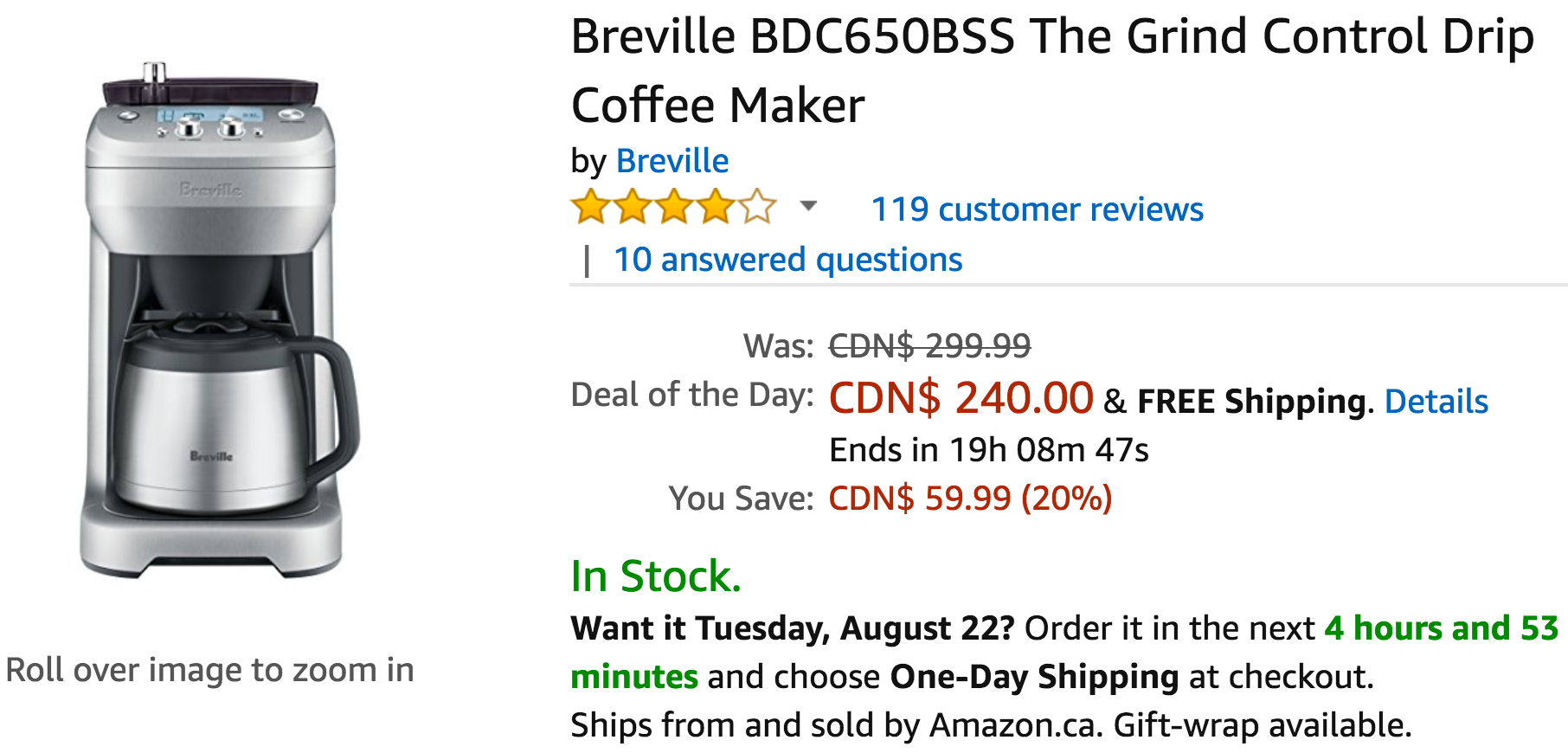 Breville Coffee Maker Coupons : Amazon Canada Deals Of The Day: Save 33% on KRUPS Electric Spice and Coffee Grinder & 20% on ...