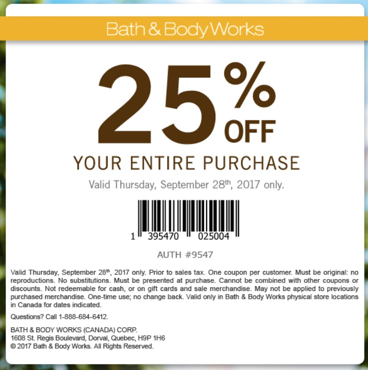 Bath & body works discount coupons
