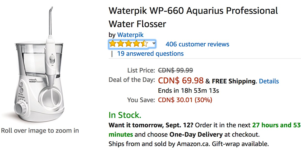 picture about Waterpik Printable Coupon named Amazon Canada Discounts Of The Working day: Conserve 30% upon Waterpik