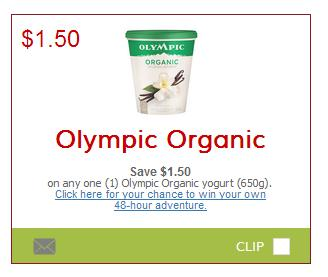 photo regarding Yogurt Coupons Printable identified as Canadian Discount codes: Preserve $1.50 Upon Olympic Natural Yogurt