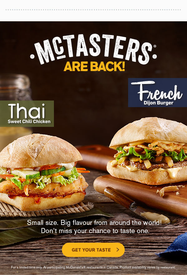 Mcdonald S Canada Mctasters Are Back Canadian Freebies