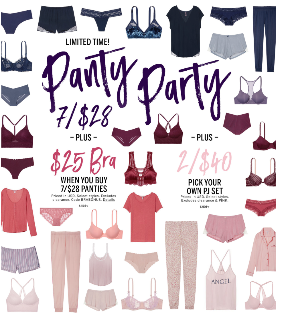 2631b2d462 Victoria Secret Canada has some new deals this weekend! Get a  25 Bra when  you buy 7  28 Panties (prices in USD). To get this deal