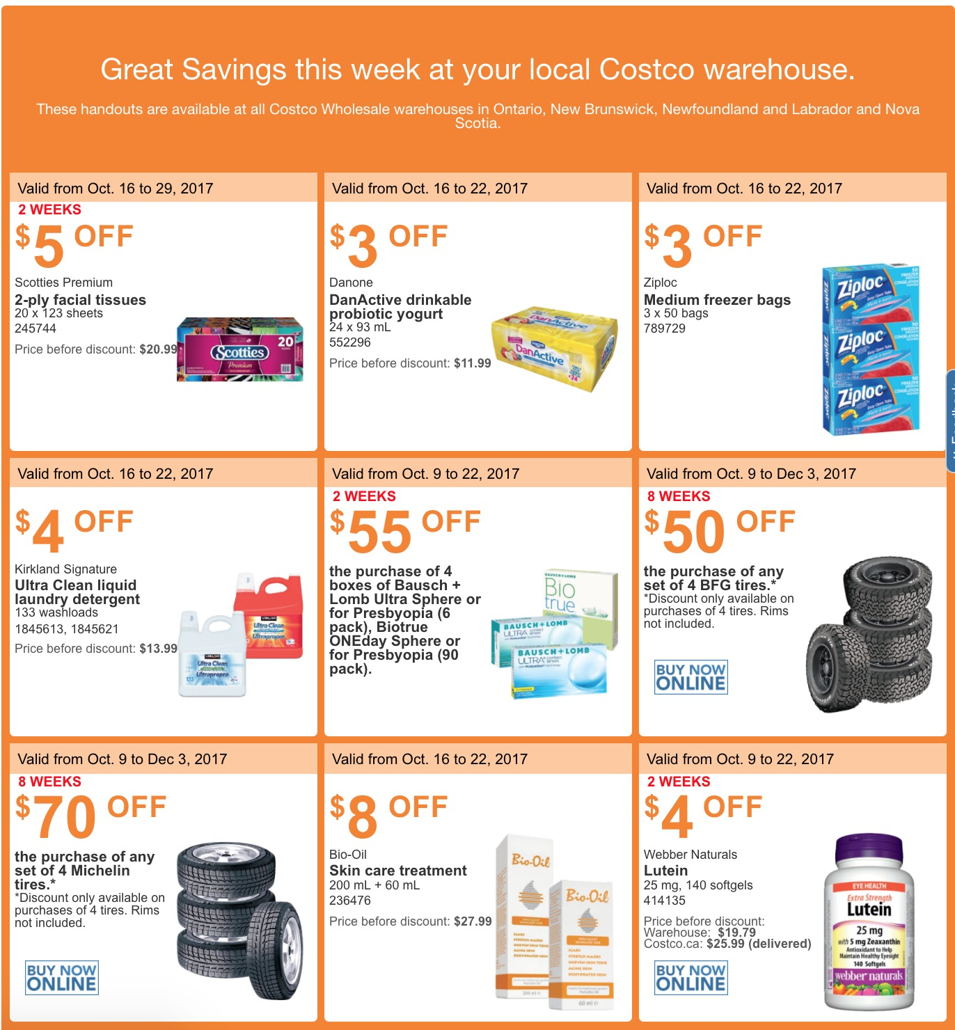 Costco canada weekly handouts coupons flyers instant savings for ontario new brunswick newfoundland labrador and nova scotia provinces from october 16