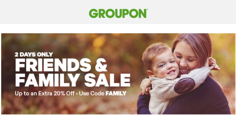 Groupon canada friends family sale save extra 20 off local deals 10 off getaways deals with promo code