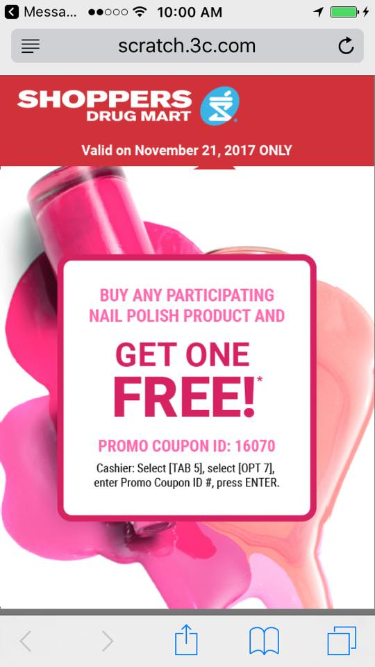 Shoppers Drug Mart Canada Text Offers: Buy One Get One Free Nail ...
