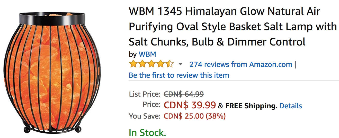 Amazon Canada Deals Of The Day: Save 38% on WBM Himalayan Glow Natural Air Purifying Oval Style ...