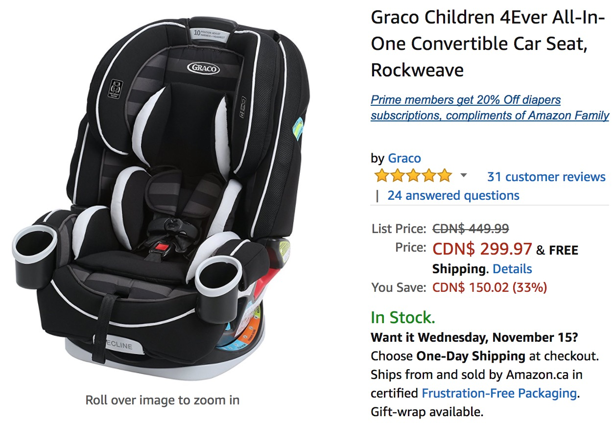 amazon canada deals save 33 on graco children 4ever all in one convertible car seat 24 on. Black Bedroom Furniture Sets. Home Design Ideas