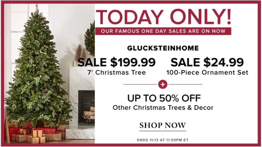 hudsons bay canada pre black friday 1 day sale save 60 on 7 christmas tree for 19999 58 on 100 piece ornament set for 2499 up to 50 off other - Black Friday Deals On Christmas Trees