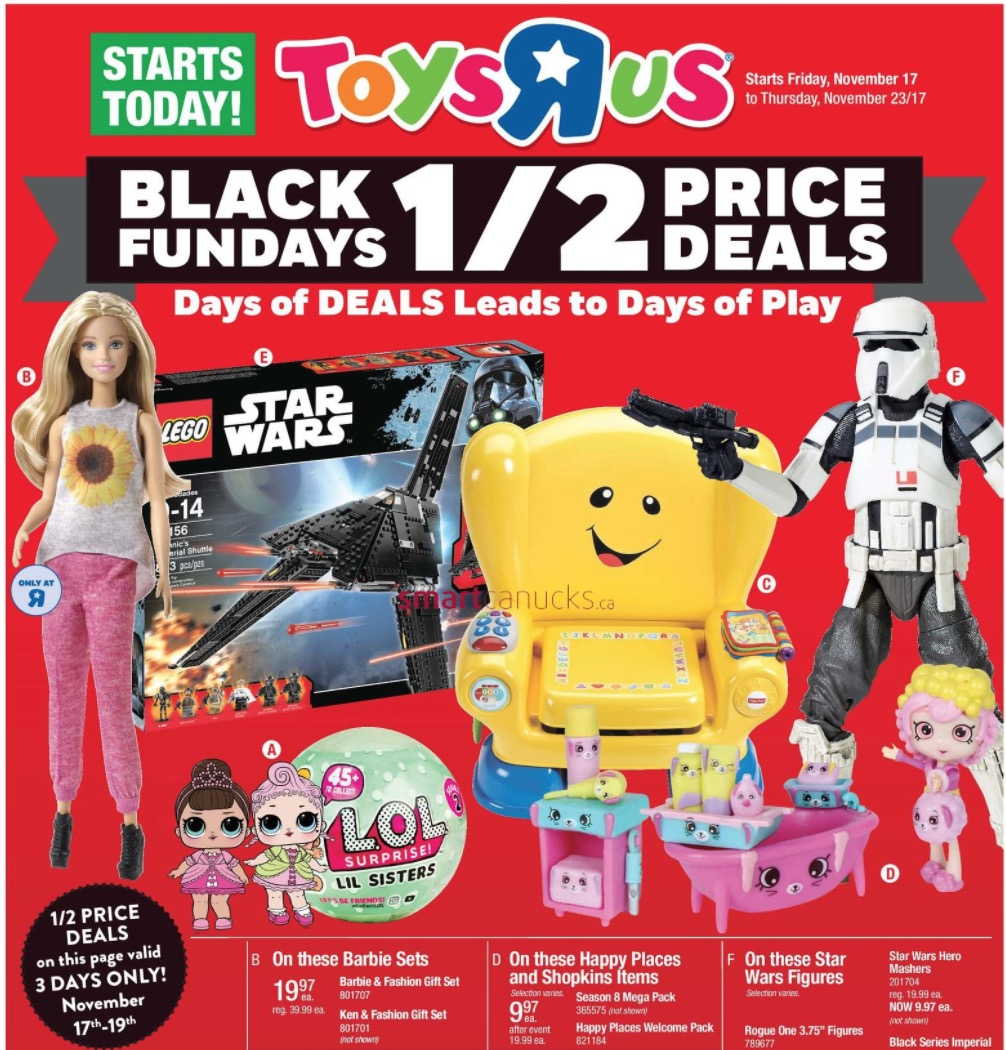 Current Toys R Us Holiday Deals STORE CLOSED Be sure to visit the Black Friday Page for all the current Black Friday Ads including store hours and online deals.