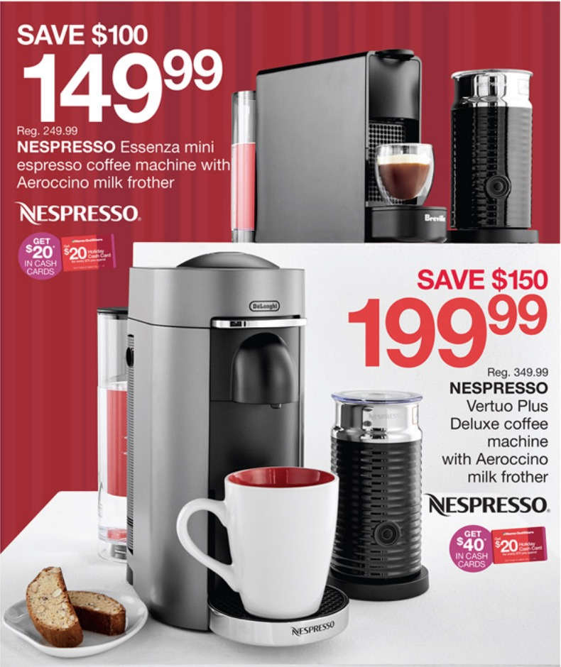home outfitters pre black friday one day deals coupons save 150 on nespresso coffee machine. Black Bedroom Furniture Sets. Home Design Ideas