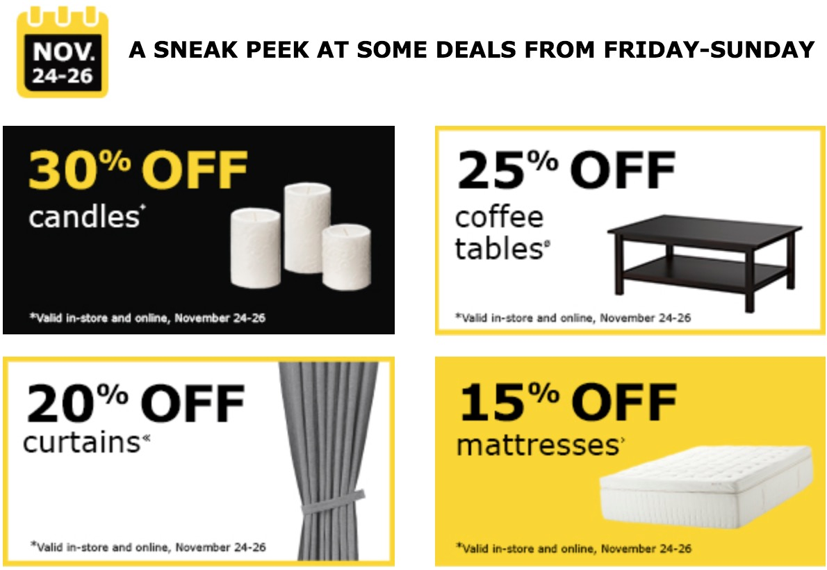 ikea canada black friday 2017 deals free breakfast 50 off 200 30 off candles 25 off. Black Bedroom Furniture Sets. Home Design Ideas