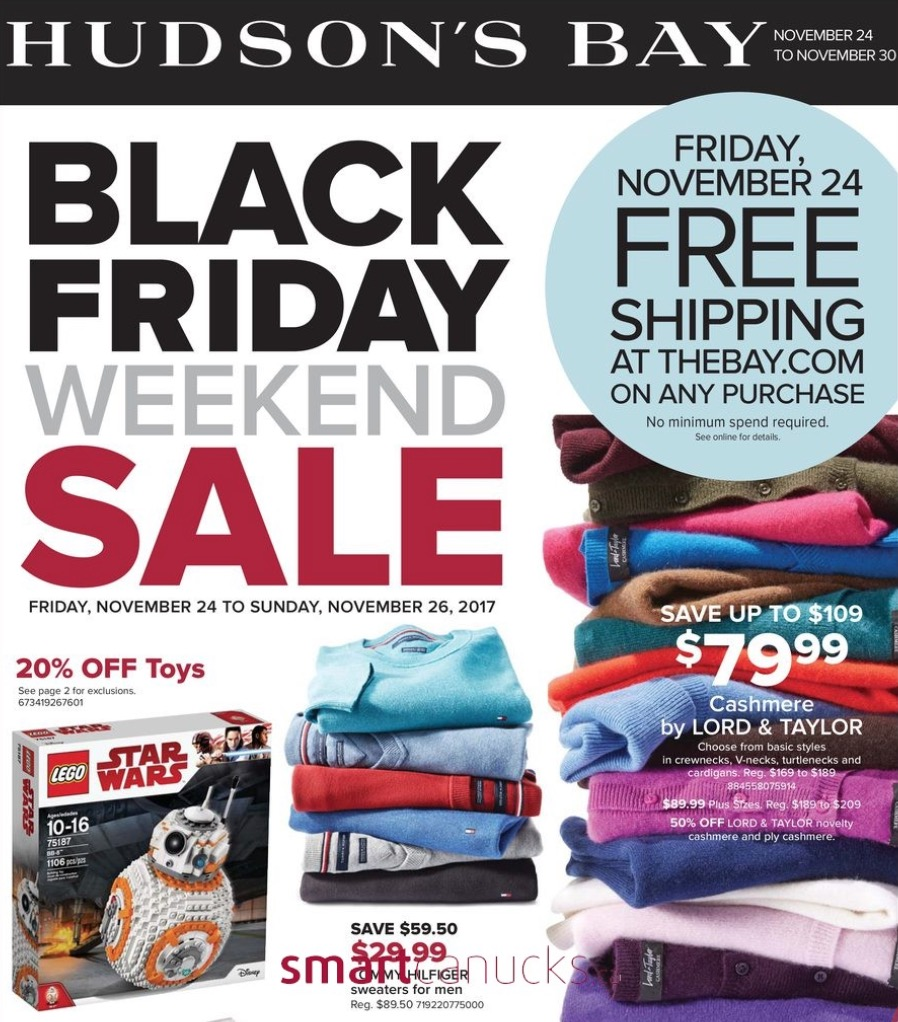 e8aca321b5439 Hudson's Bay Canada Black Friday & Cyber Monday 2017 Sales & Flyer *FULL  FLYER* with FREE Shipping on Friday 24th