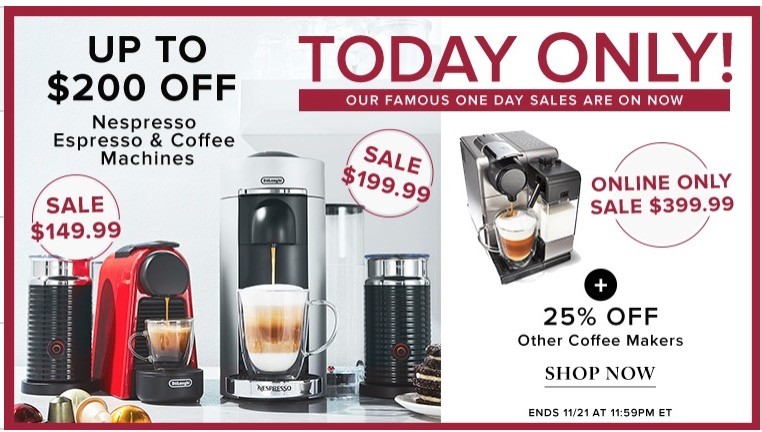 hudson s bay canada pre black friday 1 day sale save up to 200 on nespresso espresso coffee. Black Bedroom Furniture Sets. Home Design Ideas