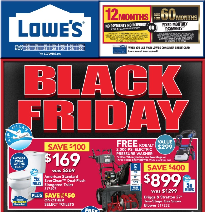 Lowe S Canada Black Friday Flyers 2017 Full Flyer Canadian
