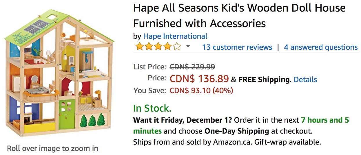 Amazon Canada Deals Save 40 On Hape All Seasons Kids Wooden Doll
