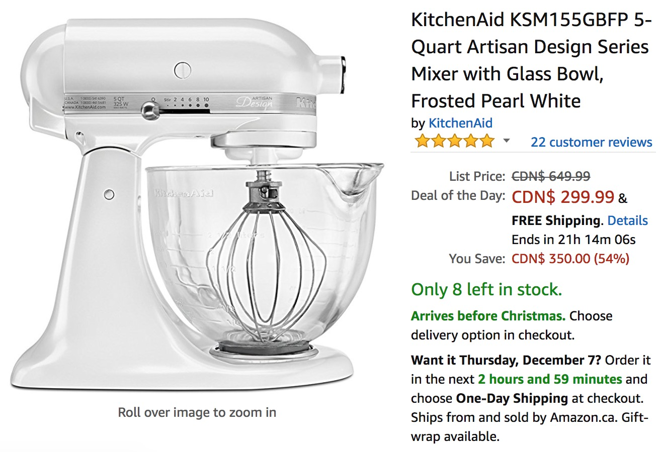 Amazon Canada Holiday Deals Save 54 Off Kitchenaid 5 Quart Artisan