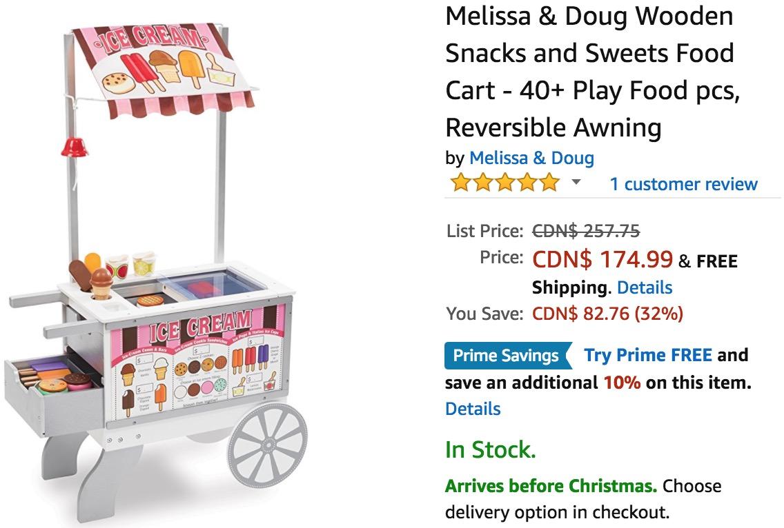 Melissa Doug Wooden Snacks And Sweets Food Cart Reversib