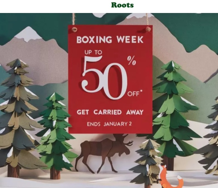 Roots Canada Boxing Week Sale Starts Now With Great Savings That Include