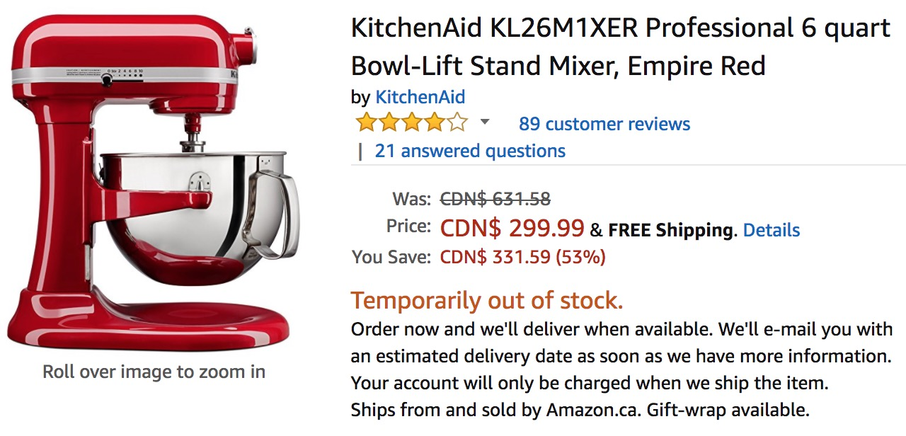 Amazon Canada Boxing Day Sale Save 53 On Kitchenaid Professional 6 Quart Bowl Lift Stand Mixer Canadian Freebies Coupons Deals Bargains Flyers Contests Canada