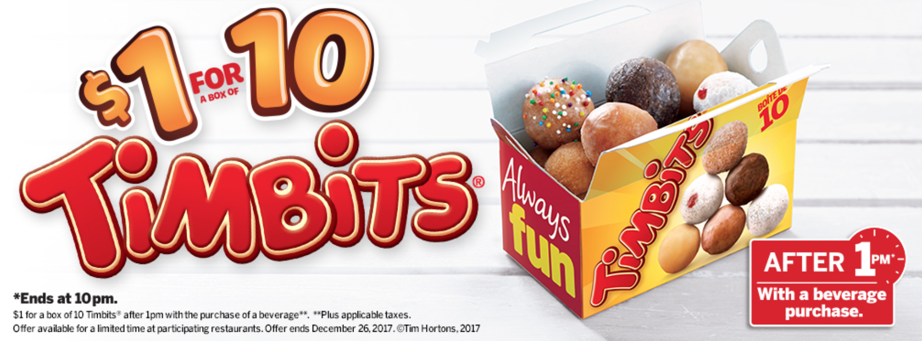 photograph regarding Tim Hortons Coupons Printable identified as Tim Hortons Canada Vacation Offers: Basically $1 For 10