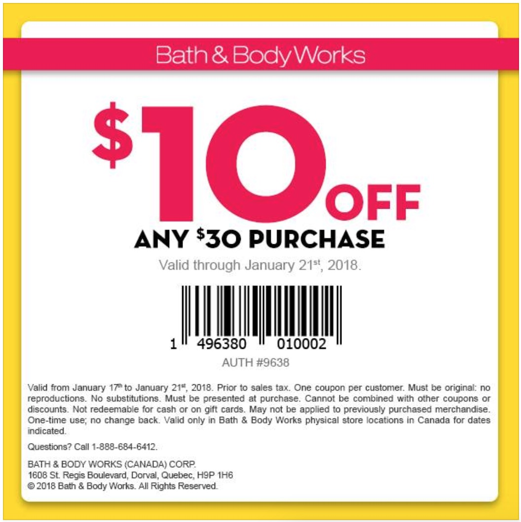 Bath and body works in store coupon january 2018