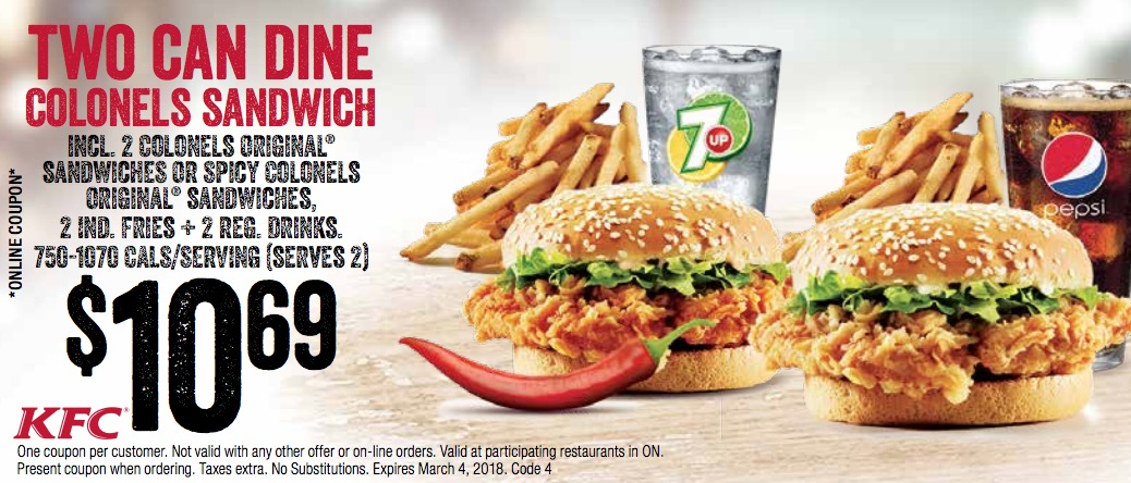 kfc canada has released a new sets of coupons these coupons are valid until march 4 2018 or march 8 2018 or march 15 2018 and depending on your