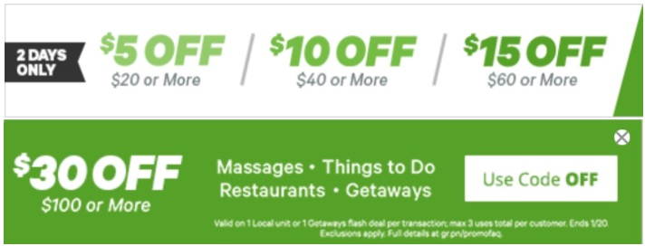 Groupon Canada Promo Code Offer: Save an Extra $5 to $30 Off